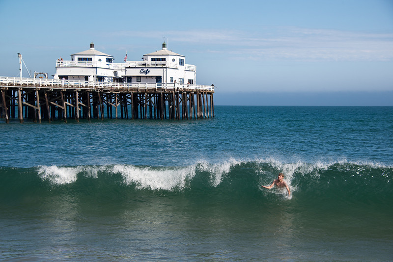 """<span id=""""title"""">Body Surfing</span> <em>Malibu Pier</em> This kid had a friend... I guess he's behind the wave?"""