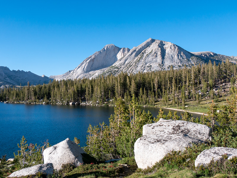 After dinner, I walked part way around the lake and got his nice view of Mt. Conness (left) and its flanking peak.  These are the two I contoured around today to reach the valley at the left.