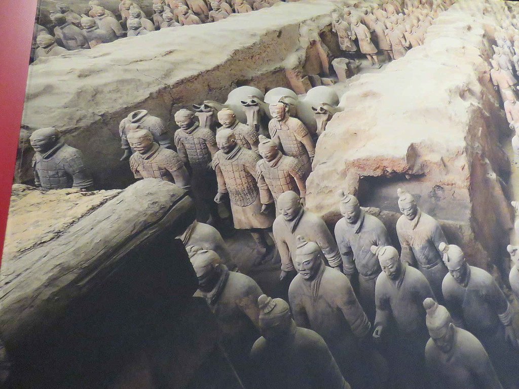 portion of painting showing terracotta warriors in place