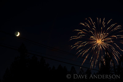 Fourth of July fireworks in Grass Valley, Ca. 2011. My brother and I hadn't scouted for a location so this was the best we could do on short notice. We guessed wrong about how high the fireworks would launch. :)