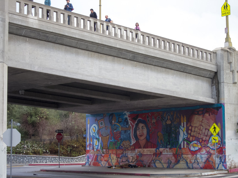 "<span id=""title"">Mural</span> A mural underneath the 1st Street aka Beverly Blvd bridge. Some of us walkers went over it, others went below."