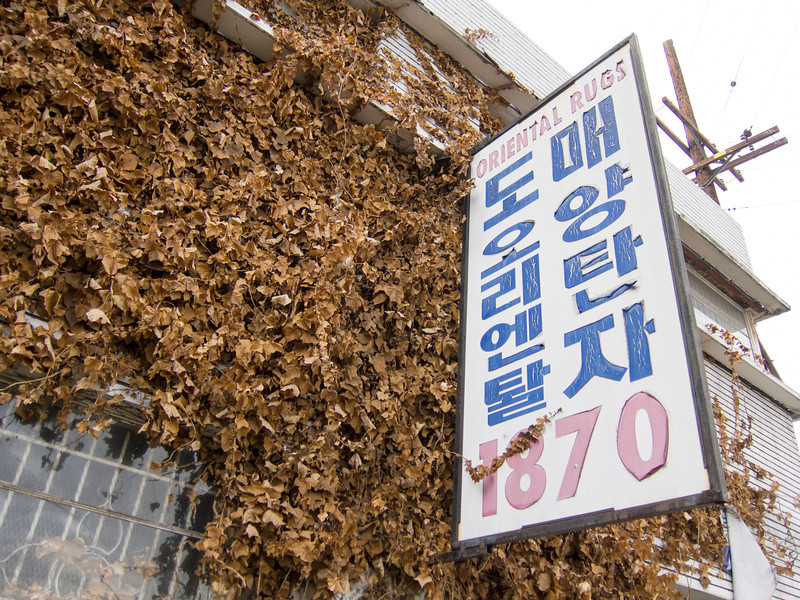 "<span id=""title"">Oriental Rugs</span> Does the sign say ""oriental rugs"" in Korean? I don't know, I can't read Korean. But that would be my guess."