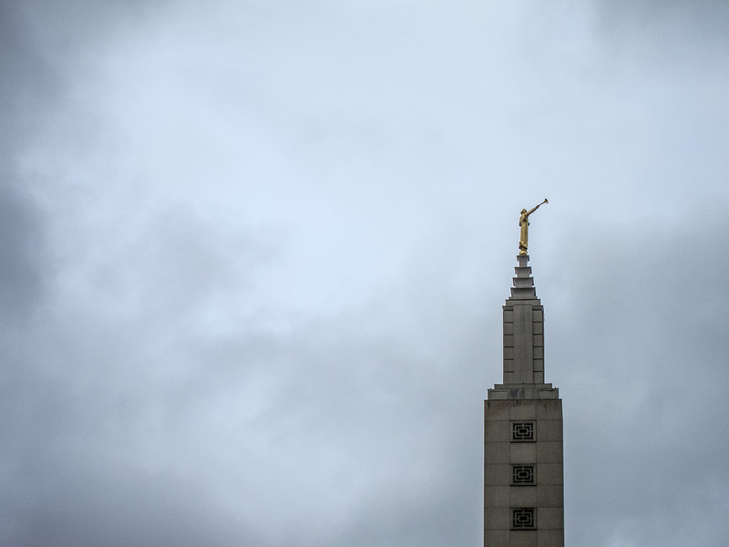 "<span id=""title"">Mormon Temple</span> The tower at the mormon temple, with lots of ominous clouds."