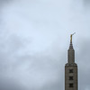 """<span id=""""title"""">Mormon Temple</span> The tower at the mormon temple, with lots of ominous clouds."""