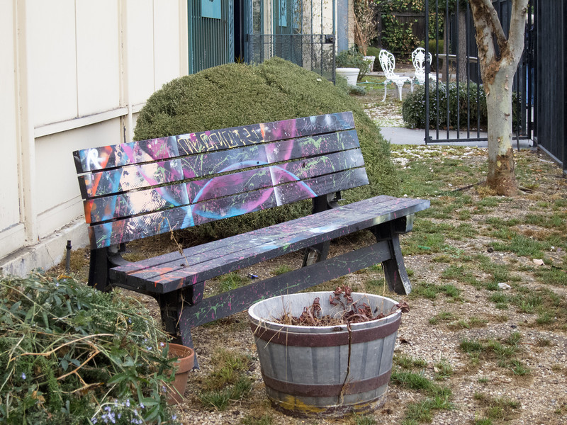 """<span id=""""title"""">Colorful Bench</span> A bench outside the <a href=""""http://www.shakespearecenter.org/"""">Shakespeare Center of Los Angeles</a>"""