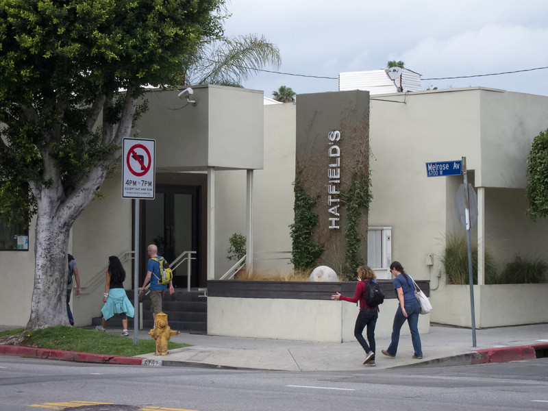"<span id=""title"">Fancy Food</span> Around Highland, Melrose starts to get all fancy, and remains that way until Doheny, where it ends and gives way to residential Beverly Hills. Hatfields is a $$$$ kind of restaurant."