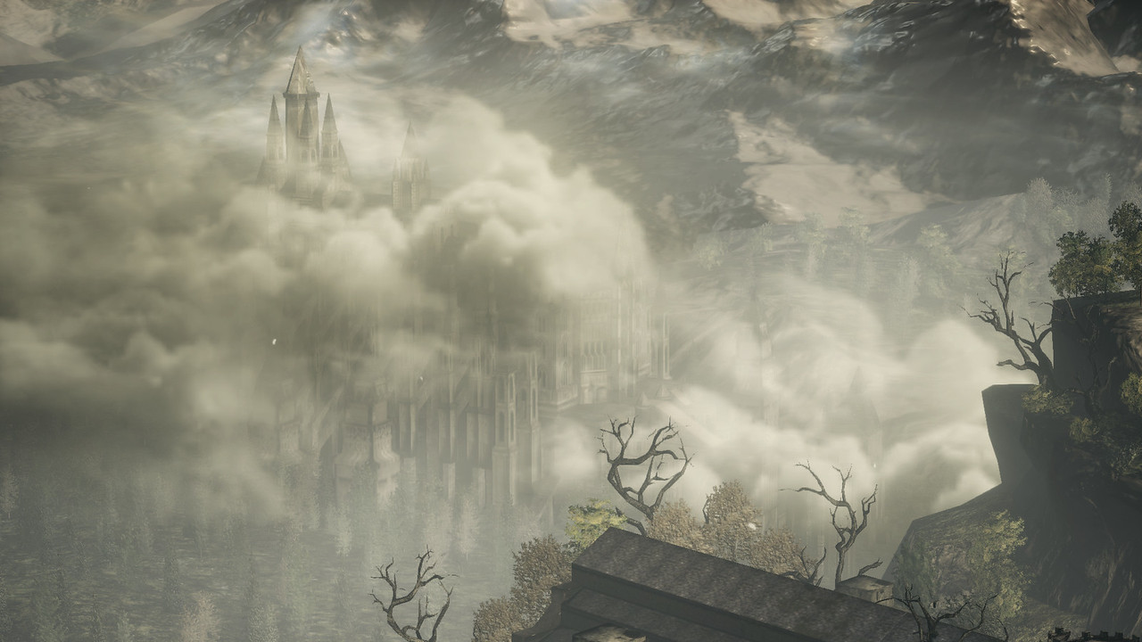 Anor Londo cathedral is visible from the overlook after Vordt.