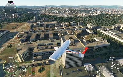 Bohunická nemocnice a v pozadí areál Výstaviště a Brno.