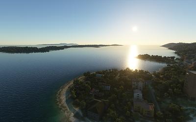 A tohle už je zcela mimo ČR, jak je asi jasné - západ slunce z ostrova Hvar nad stejnojmenným městem.
