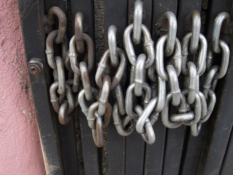 """<span id=""""title"""">Chain</span> <em>Hollywood / Normandie</em> Chain on a security door at a convenience store."""