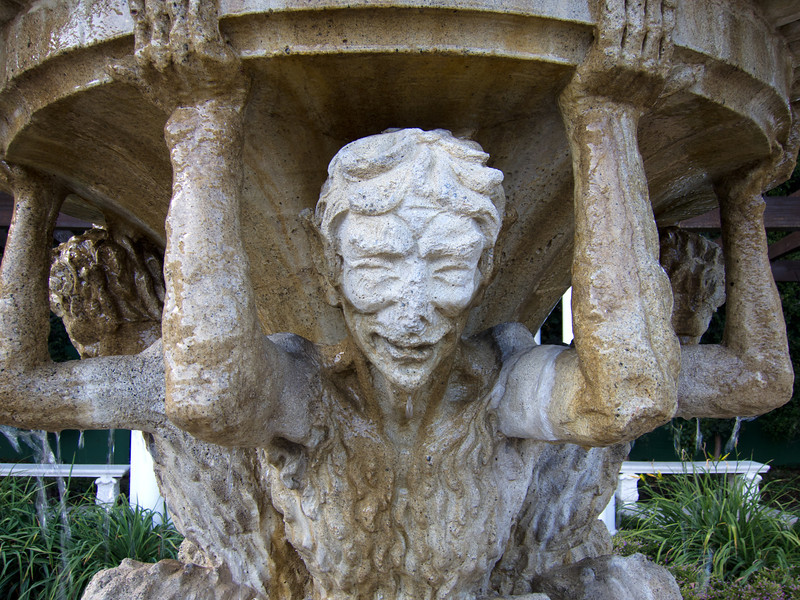 """<span id=""""title"""">Satyr Fountain</span> <em>Santa Monica / Alpine</em> This 4-satyr fountain was in front of the 2nd pergola we passed in Beverly Gardens Park."""