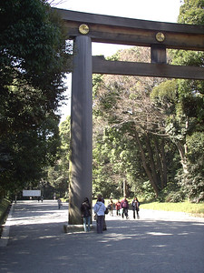 A torrii gate on the path leading to Meiji Jingu.