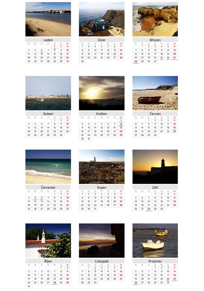 Kalendář Portugalsko 2016 / Portugal 2016 Calendar
