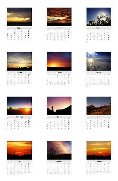 Kalendář Večerní obloha 2014 / Evening Skies 2014 Calendar