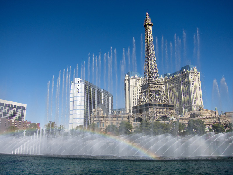 """<span id=""""title"""">Water Show</span> The Bellagio fountain doing it's thing with the scale model Eiffel Tower at Paris across the street."""