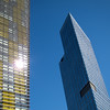 "<span id=""title"">Angled</span> None of the buildings at City Center were traditional by any means. Aria was curved, the building on the right had sharp angles, and the yellow building on the left is a pair of identical buildings that lean at a remarkable angle in opposite directions. It's just ridiculous. And don't even get me started on Crystals, the mall..."