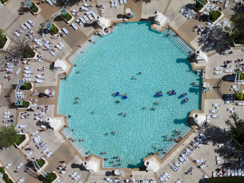 "<span id=""title"">Octagonal Pool</span> Snapped a photo of these folks enjoying the pool from high above in the Eiffel tower."