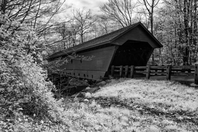 Operational covered bridge at Newfield, NY in full spectrum Infrared Black and White.