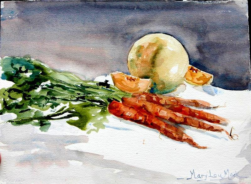 "Carrots and Cantaloupe Still Life 11"" x 15"" Price: $275. Unframed"