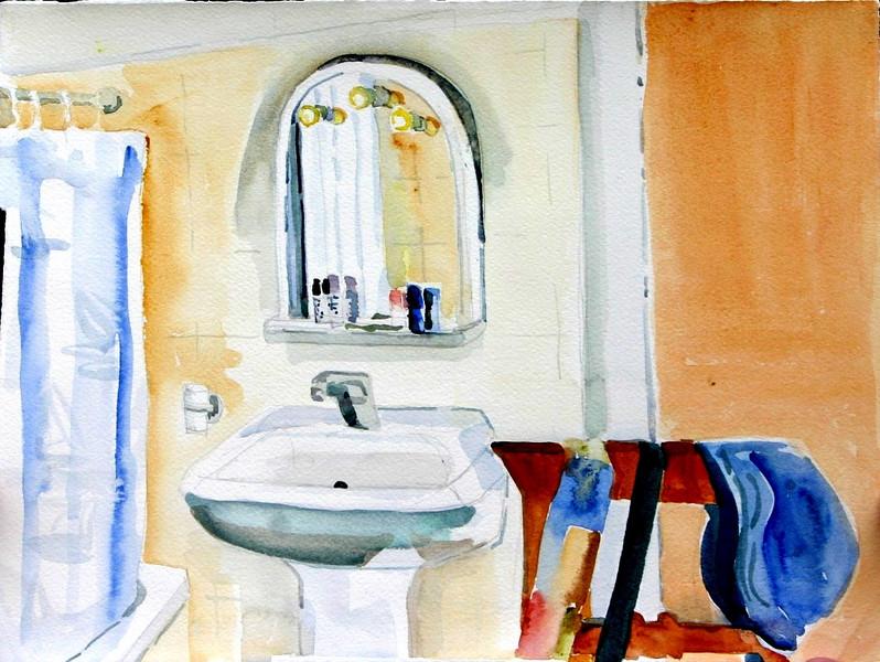 "Italian Bathroom 11"" x 15"" Price: $150. Unframed"