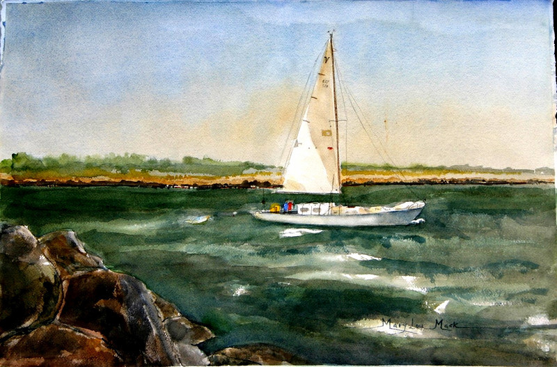 """Afternoon Sail At Cape Cod 15"""" x 22"""" Price:$500. Framed"""