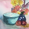 Still Life, Flowers, Apples And A Blue Bowel