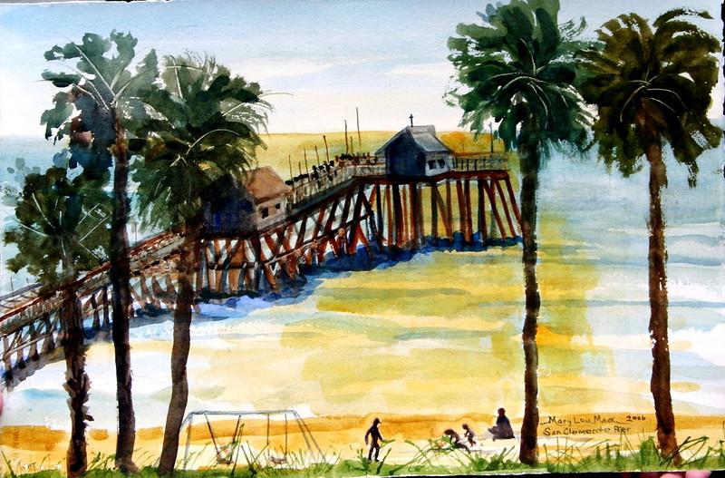 "San Clemente Wharf 15"" x 22"" Price: $200. Unframed"