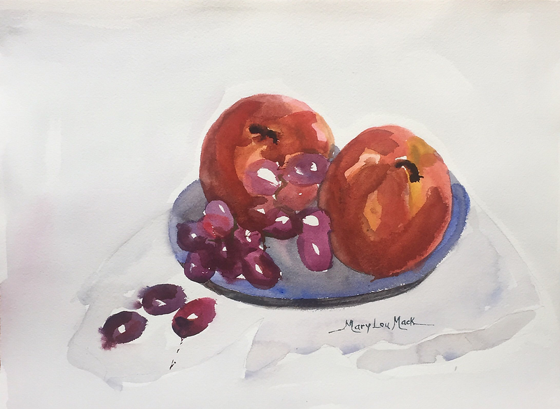 Still Life Apples And Grapes