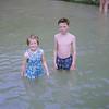 Sandra & Chris in paddling pool at Towan Beach Newquay