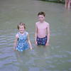 Sandra & Chris in paddling pool at Towan Beach Newquay (1963)