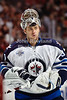 Winnipeg goalie Ondrej Pavelec (31) during the NHL game between the Chicago Blackhawks and the Winnipeg Jets at the United Center in Chicago, IL. The Blackhawks defeated the Jets 4-3.