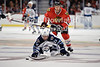 Winnipeg center Kyle Wellwood (13) stumbles while on a breakaway during the NHL game between the Chicago Blackhawks and the Winnipeg Jets at the United Center in Chicago, IL. The Blackhawks defeated the Jets 4-3.