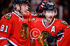 Chicago right wing Marian Hossa (81) is congratulated by defenseman Duncan Keith (2) after Hossa scored during the NHL game between the Chicago Blackhawks and the Buffalo Sabres at the United Center in Chicago, IL. The Blackhawks defeated the Sabres 6-2.