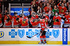Chicago center Andrew Shaw (65) is congratulated by the bench after scoring a goal during the NHL game between the Chicago Blackhawks and the New York Rangers at the United Center in Chicago, IL. The Blackhawks defeated the Rangers 4-3.