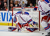 New York goalie Henrik Lundqvist (30) makes a save during the NHL game between the Chicago Blackhawks and the New York Rangers at the United Center in Chicago, IL. The Blackhawks defeated the Rangers 4-3.