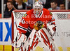 Chicago goalie Ray Emery (30) prepares for a shot during the NHL game between the Chicago Blackhawks and the New York Rangers at the United Center in Chicago, IL. The Blackhawks defeated the Rangers 4-3.