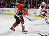 Chicago right wing Patrick Kane (88) attempts a one-timer shot during the NHL game between the Chicago Blackhawks and the Phoenix Coyotes at the United Center in Chicago, IL. The Coyotes defeated the Blackhawks 4-3 in a shootout.