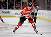 Chicago defenseman Sami Lepisto (20) shoots the puck during the NHL game between the Chicago Blackhawks and the San Jose Sharks at the United Center in Chicago, IL. The Blackhawks defeated the Sharks 3-2 in overtime.