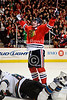 Chicago left wing Patrick Sharp (10) celebrates his game-winning goal in overtime during the NHL game between the Chicago Blackhawks and the San Jose Sharks at the United Center in Chicago, IL. The Blackhawks defeated the Sharks 3-2 in overtime.
