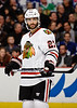 Chicago defenseman Johnny Oduya (27) made his Blackhawks debut during the NHL game between the Chicago Blackhawks and the Toronto Maple Leafs at the United Center in Chicago, IL. The Blackhawks defeated the Leafs 5-4.