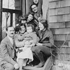 Left to right:  Dave Bloom, Kate Rosen, Naomi Bloom, Daniel Bloom, Ruth Bloom, Milton Gray, ?, Lenna Bloom, ? (standing)<br /> <br /> Spring, 1926