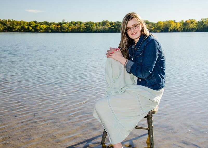 senior girl in lake photo