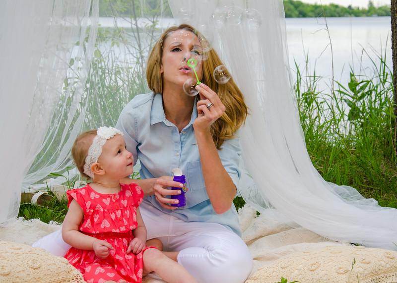 blowing bubbles family portrait