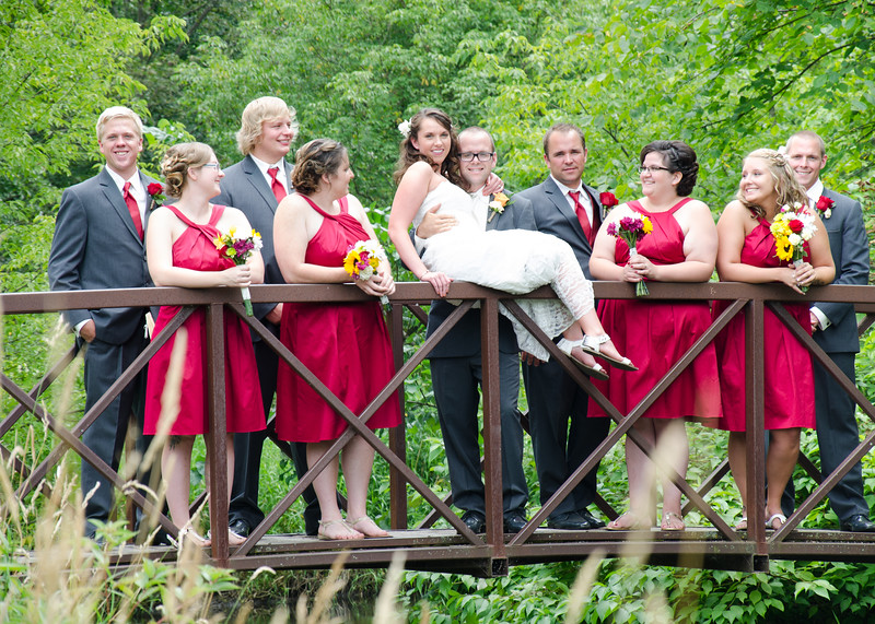 wedding party on bridge photo