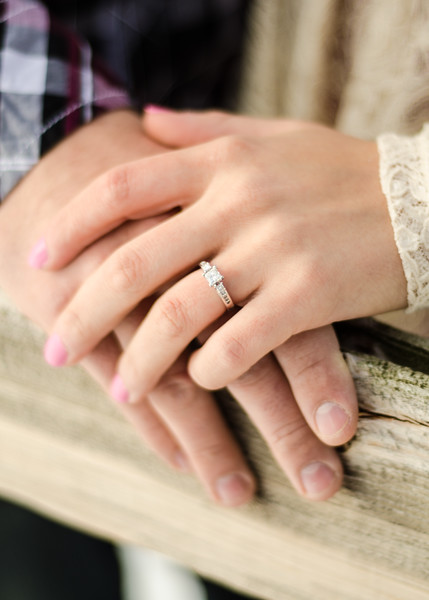 hands on the fence engagement ring photo