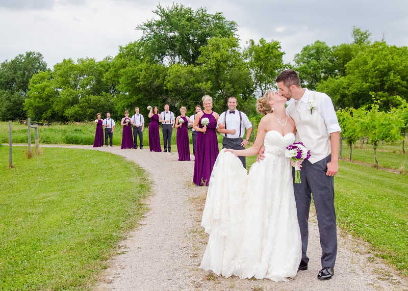 bridal party in the winery