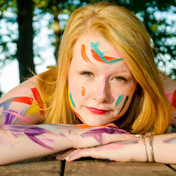 painted girl senior portrait