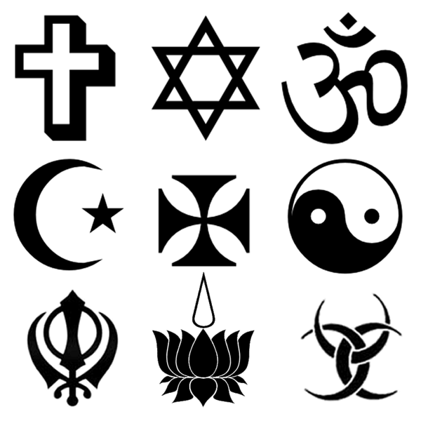 Various religious symbols - author - jossi fresco<br /> From left to right:<br />  * 1st Row Latin Cross, Star of David, Omkar (Aum)<br /> * 2nd Row Star and crescent, Cross pattée, Yin-yang<br /> * 3rd Row Khanda, Ayyavazhi, Triple Goddess (or Diane de Poitiers)<br /> <br /> Licensing<br /> Permission is granted to copy, distribute and/or modify this document under the terms of the GNU Free Documentation License, Version 1.2 or any later version published by the Free Software Foundation.