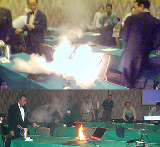 At a conference in Japan, a Dell laptop suddenly exploded into flames, and lucky for its owner the fiery blast occurred while the PC was sitting on a table and not in his lap. An onlooker reported that the notebook continued to burn, producing several more explosions over the course of about five minutes.<br /> <br /> The model of the offending Dell notebook wasn't mentioned.