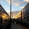 "<span id=""title"">Trains</span> Interesting sort-of symmetry at the Goleta Amtrak station just before sunset."